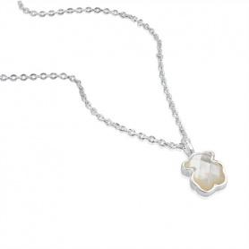 Teddybär Halskette Silber und Mutter Pearl tous