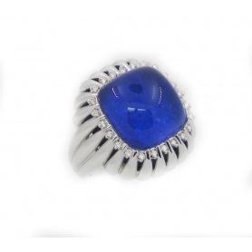 Blue quartz and diamond ring Passion Giorgio Visconti