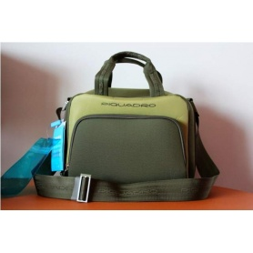 Beautycase by Piquadro green fabric and leather cabin-BY1463TR/VV