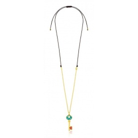 Gold-plated silver and enamel pendant key necklace Tous