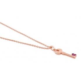Gilded Rosé silver necklace key pendant Tous