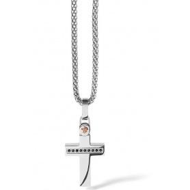 Collana con Croce Comete Uomo in acciaio linea Zip
