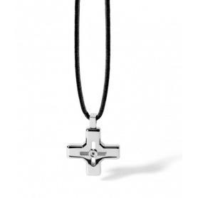 Collana con Croce in acciaio Comete Uomo linea Link