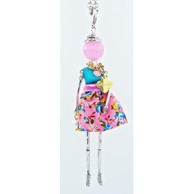Carose Puppe Halskette Anhänger Blumenmuster