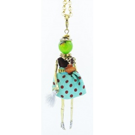 The Carose polka dot doll pendant necklace