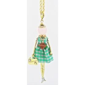 Collana Le Carose bambola pendente scacchi primavera