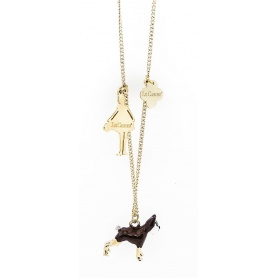 The Carose Dog with puppy and Doll necklace pendant