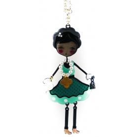 Collana Le Carose Flapper pvd nero con vestito verde