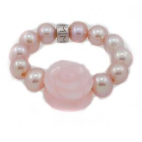 Anello Mimì elastica in perle con rosellina in opale rosa