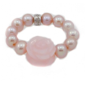Ring Mimì in pearls with rose in pink Opal