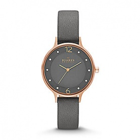 Skagen SKW2267 watch rose gray leather-Anita