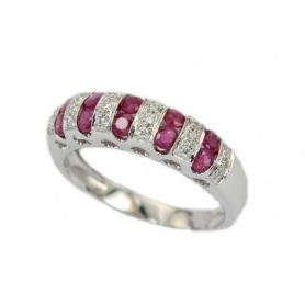 Bliss gold ring with diamonds and rubies - 3100700