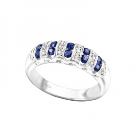 Ring Bliss in gold with diamonds and sapphires blue-20,003,629