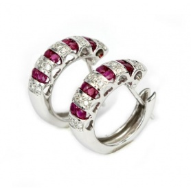 Bliss earrings in gold with diamonds and rubies-3,407,500