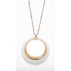 White enamel pendant necklace silver rose wine with Phidias-C91S/R