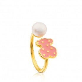 Ring silver enameled and bear Pearl Tous Face