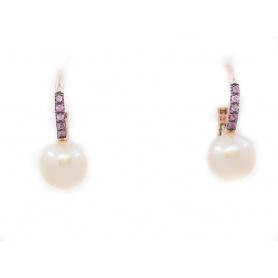 Orecchini monachina Mimì Happy con perle e zaffiri rosa