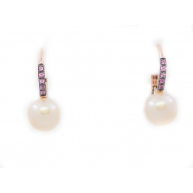 Lever-back earrings Mimi Happy with Pearl and Pink Sapphire