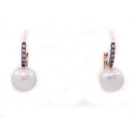 Orecchini monachina Mimì Happy con perle e zaffiri viola