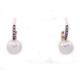 Lever-back earrings Mimi Happy with Pearl and purple sapphires