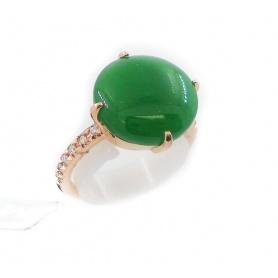 Anello Mimì Les Lulù in oro con Giada Verde e Diamanti
