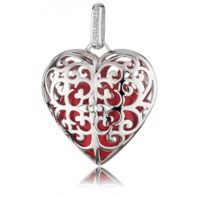 Pendente cuore grande Engelsrufer in argento e cuore rosso