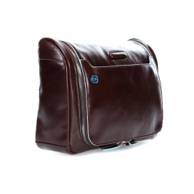 Large dark brown leather beauty Piquadro line Blue Square
