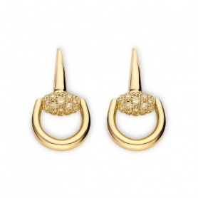 Orecchini Horsebit Gucci oro giallo con diamanti brown - YBD35702900100U
