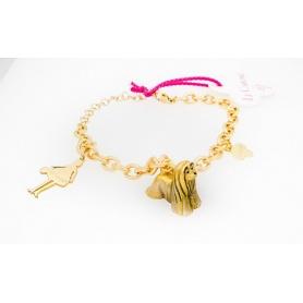 Gold Metall-Armband mit dem Hund Carose