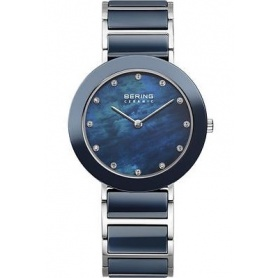 Blue ceramic and steel watch Bering-11429-787