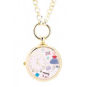 Orologio da tasca collana Le Carose Time dorata e rosa
