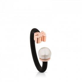 Anello brunito Tous Mesh con orsetto e perla - 613105510