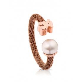 Anello Tous Icon Mesh in acero rosè e perla - 613105520