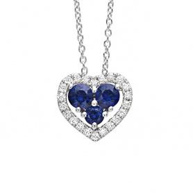 Collana Bliss Infinito Amore a cuore con Zaffiri e Diamanti