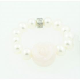 Anello Mimì elastica con rosa opale  rosa e perle bianche