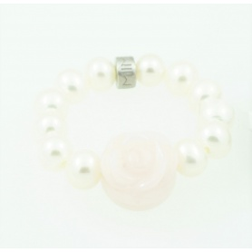 Pink Opal ring with pink and white pearls Mimi elastic