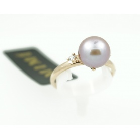 Anello Mimì Vega in oro rosa con perla viola e diamante