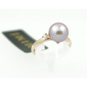 Ring-pink gold purple Pearl and Mimi Vega diamond