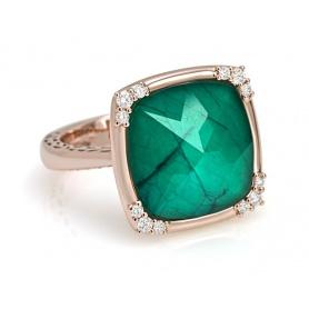 Giorgio Visconti ring in rose gold with green quartz and diamonds