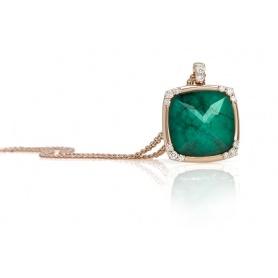 Pink gold necklace Giorgio Visconti green quartz and diamonds