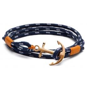 Blaues Schlüsselband mit goldener Anker und Tom Hope Armband-Senf