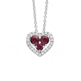 Collana Bliss Infinito Amore a cuore con Rubini e Diamanti