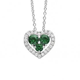 Collana Bliss Infinito Amore a cuore con Smeraldi e Diamanti