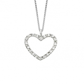 Bliss Heart Necklace white gold, diamond hearts