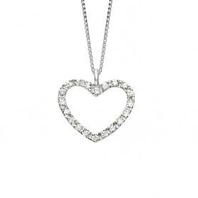 Bliss Herz Halskette Weißgold, Diamant-Herzen