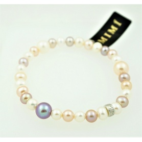 Bracciale elastica con perle multicolor new - B270ARM