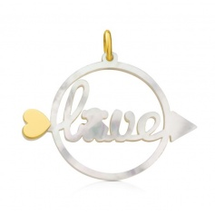 Large pendant Tous-Pearl and gold arrow Valentine Love.