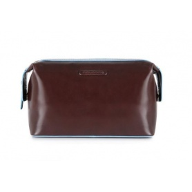 Dark brown leather beauty Piquadro line Blue Square