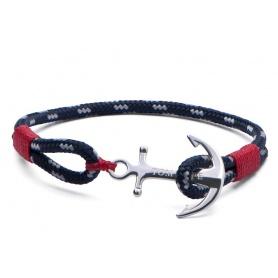 Tom Hope Armband mit Anker und blauen und roten Schlüsselband-Atlantik-rot