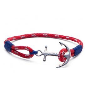 Tom Hope Armband mit Anker und roten und blauen Kabel-Arctic Blue